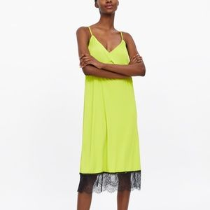 ZARA LACE TRIM SLIP DRESS  LIME GREEN - 5644/036